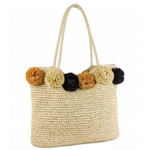 Natural Tote with Pom Poms